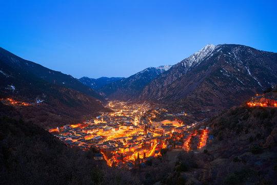 Andorra la Vella skyline at sunset Pyrenees