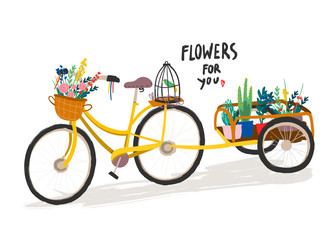 Flowers for you. Hand drawn retro bicycle with flowers. Colored vector illustration