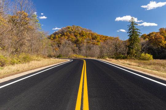 Scenic Highway In Autumn