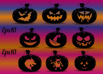 Collection of pumpkins for the holiday of Halloween, silhouette patterns for design on a purple background,