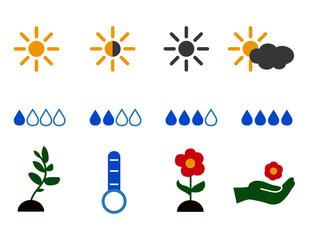 Set icon flower planting