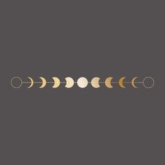 Moon phases icon, border, vector illustration in boho style. Golden on dark background