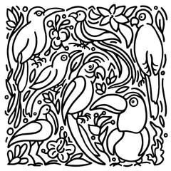 Vector set of exotic bird. Tropical jungle