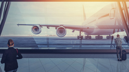 Wall Mural - The aircraft is parked at the aircraft. And passengers waiting to board. 3d render and illustration.