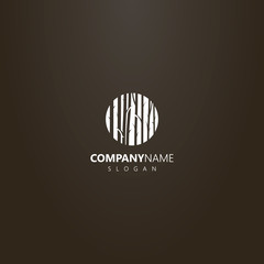 white logo on a black background. simple vector flat art negative space round logo of tree trunks  in the forest