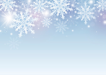 Christmas and winter background design of white snowflake with copy space vector illustration