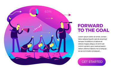 Business infographics with illustrations of business situations. Teamwork, employees go towards a common goal. The leader, commander and workers are floating in a boat and rowing.
