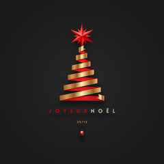 Joyeux noël - Christmas greetings in French - golden ribbon in the shape of christmas tree with red star. Vector illustration.