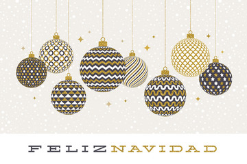 Feliz navidad - Christmas greetings in Spanish - patterned golden baubles on a white  background. Vector illustration.