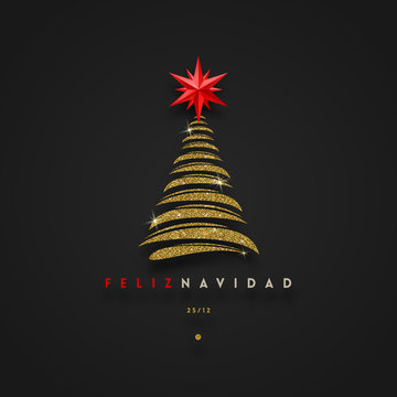 Feliz navidad - Christmas greetings in Spanish - abstract glitter gold christmas tree with red star. Vector illustration