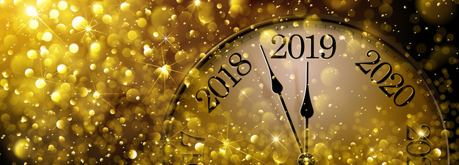 New Year s Eve 2019 Old Clock Fototapete