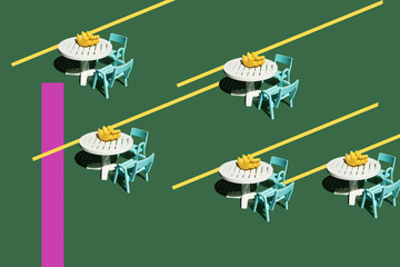 3D Rendering, tables and bananas, miniature, repetition