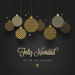 Feliz navidad - Christmas greetings in Spanish. Patterned golden baubles on a black background. Vector illustration.