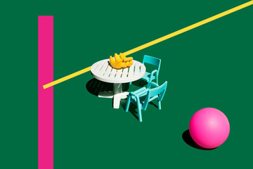 3D Rendering, table, chairs, bananas, pink ball, miniature