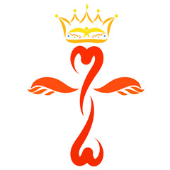 Colorful winged cross with hearts and a crown above it