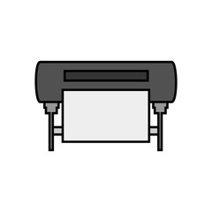 Vector line simple icon of plotter – inkjet printing machine for large formats