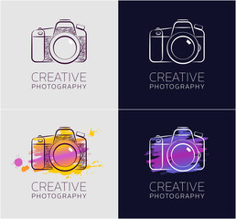 """Creative Photography. Graphic design in sketchy style on the subject of """"Professional Creative Activity""""."""