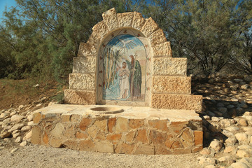 Monument in historical place of baptism of Jesus Christ in Jordan