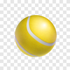 Realistic yellow tennis ball isolated on transparent background. Sports equipment for game on court vector illustration. Sport competition and outdoors activity 3d object.