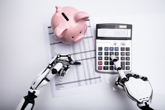 Robot Examining Financial Report With Calculator