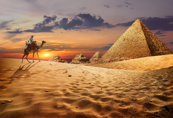 Deurstickers Egypte Egyptian evening landscape