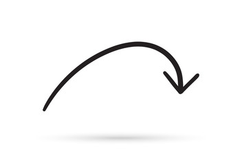curve arrow draw doodle brush sketch cartoon isolated on white background