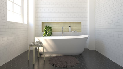 modern bathroom interior design,sink,toilet,shower,home 3D rendering for copy space background white tile bathroo and Ornamental Plants on the black tile floor