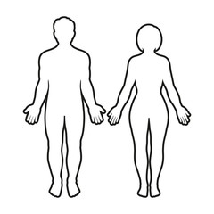 outline silhouette of a man and woman on a white background