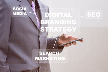 Businessman presses button digital branding strategy web seo on virtual mobile network.