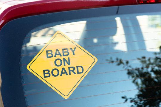 Baby On Board Sticker On Car Back Window