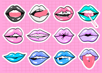 Various expressions of lips. Vector sticker set. All elements are isolated. Pink checked background