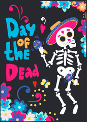 Day of the dead. Mariachi skeleton. Hand drawn colored vector greeting card