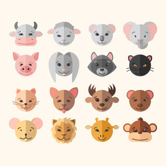 ector set of flat round animal icons