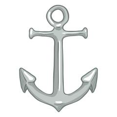 Vector Single Cartoon Color Illustration - Silver Marine Boat Anchor