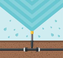 Bewässerung Sprinkler Flat Design Icon