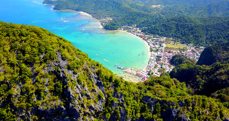 Overhead Aerial View of El Nido Town and Bay - Palawan, Philippines