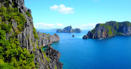Rocky Ocean Cliffs - El Nido, Palawan, Philippines - Aerial View