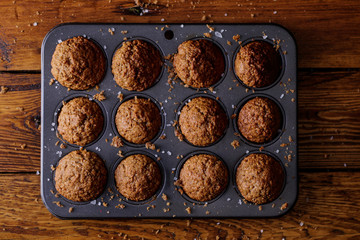 Ready to eat Bran muffins on a baking tray