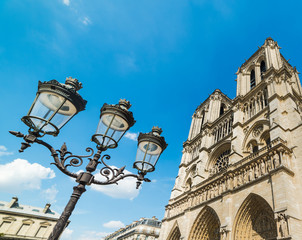 Lamppost by Notre Dame cathedral in Paris