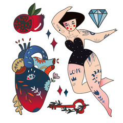 Hand drawn various objects. Traditional tattoo style. Colored vector set. All elements are isolated