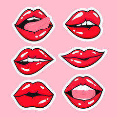 Various expressions of red lips. Vector set. All objects are isolated. Pink background