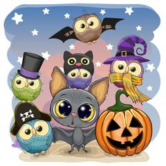 Cute Cartoon Bat with pumpkin and five owls