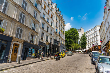 Blue sky over a picturesque street in Montmartre neighborhood