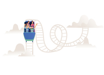 Roller coaster with adult company or team in open car on railroad track isolated on white background. Young people having fun and enjoyment on amusement ride in cartoon vector illustration.