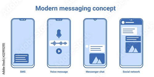 Messaging app concept  Modern bezel less smartphone with sms, voice