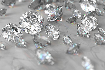 3D rendering Luxury diamonds on marble background