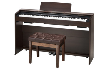 brown piano and banquet isolated