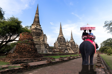 Foreign tourists Elephant ride to visit Ayutthaya, There are ruins and templesi in the Ayutthaya period.Concept is Travel in temple phar sri sanphet.