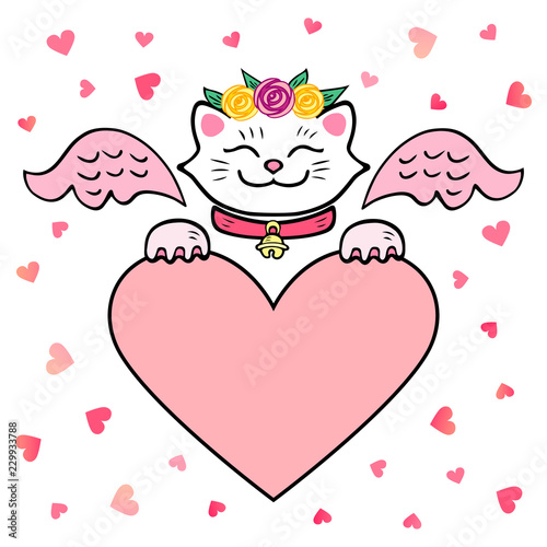 Vector Illustration White Cat With Pink Wings And Heart Template