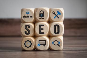 Würfel mit SEO Search Engine Optimization